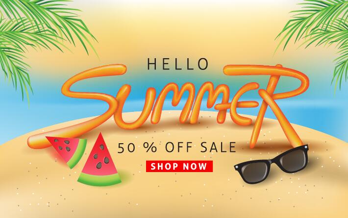 Summer sale poster vector template 08