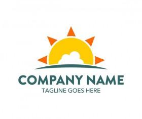 Sun with summer logo design vector