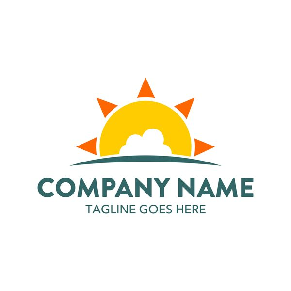 Sun with summer logo design vector