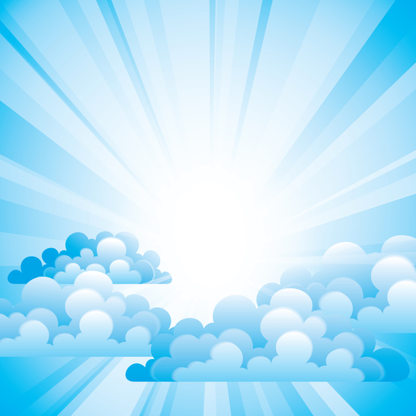 Sunlight and clouds with sky background vector 02