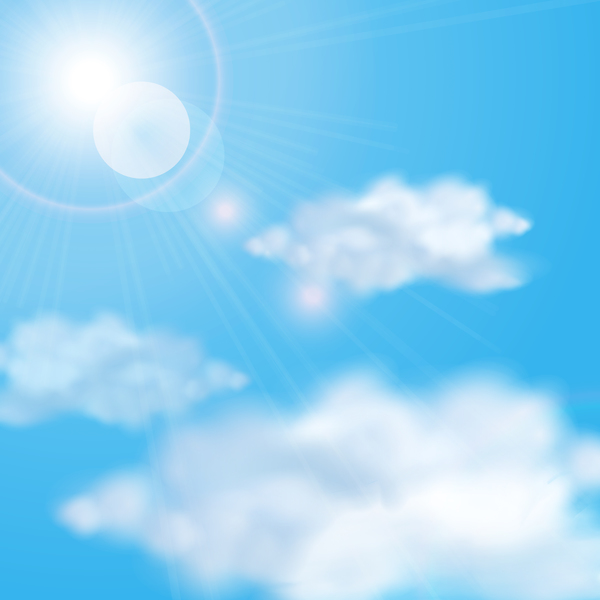 Sunlight and clouds with sky background vector 03