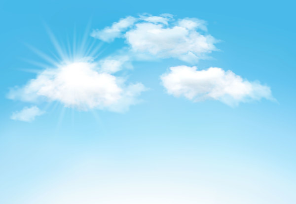 Sunlight And Clouds With Sky Background Vector 04 Vector