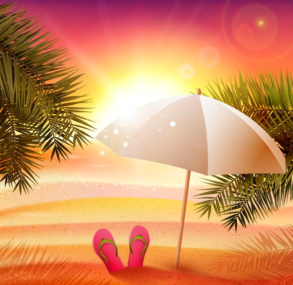 Sunset beach with summer background vector