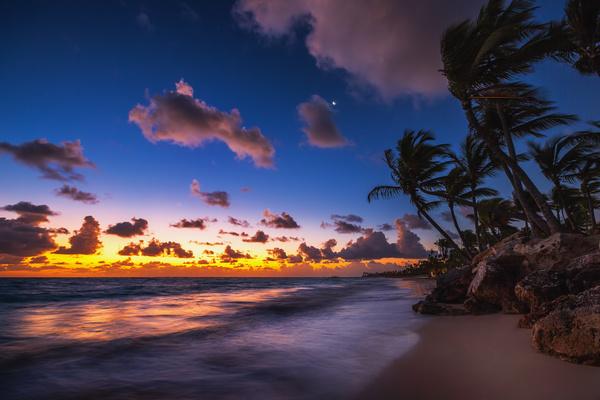 Tropical Island Beach Sunset: Sunset Tropical Island Beach View Stock Photo 04 Free Download