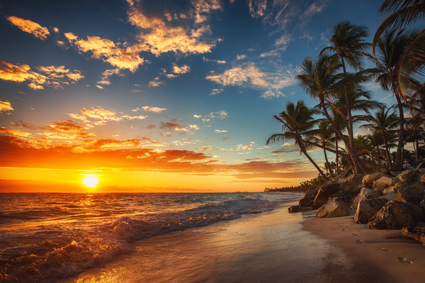 Tropical Island Sunset: Sunset Tropical Island Beach View Stock Photo 06 Free Download