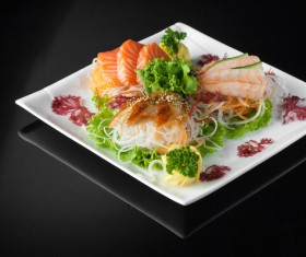 Sushi in a plate on a black background Stock Photo 03