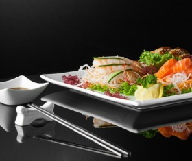 Sushi in a plate on a black background Stock Photo 08