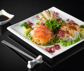 Sushi in a plate on a black background Stock Photo 09