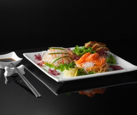 Sushi in a plate on a black background Stock Photo 11