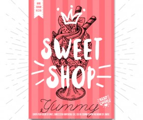 Sweet shop poster template vectors