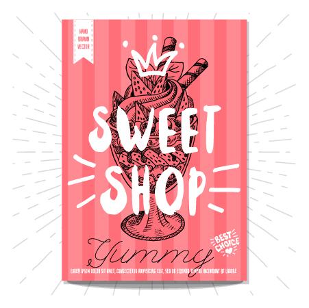 sweet shop poster template vectors free download. Black Bedroom Furniture Sets. Home Design Ideas