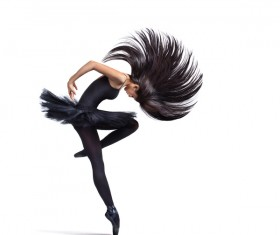 Swinging ballet beautiful hair Stock Photo
