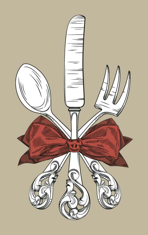 Tableware with retro bow vector