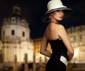 Temperament elegant woman Stock Photo