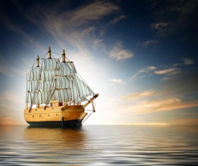 The old sailboat is driving at sea Stock Photo