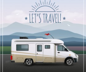 Travel car with travel poster vector