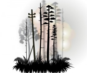 Tree silhouette with city landscape fashion vector 01