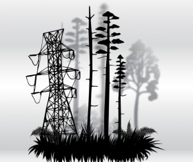 Tree silhouette with city landscape fashion vector 02
