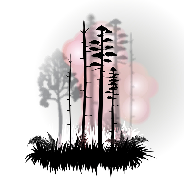 Tree silhouette with city landscape fashion vector 03