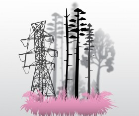 Tree silhouette with city landscape fashion vector 04