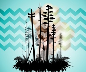 Tree silhouette with city landscape fashion vector 05