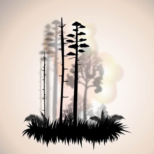 Tree silhouette with city landscape fashion vector 07