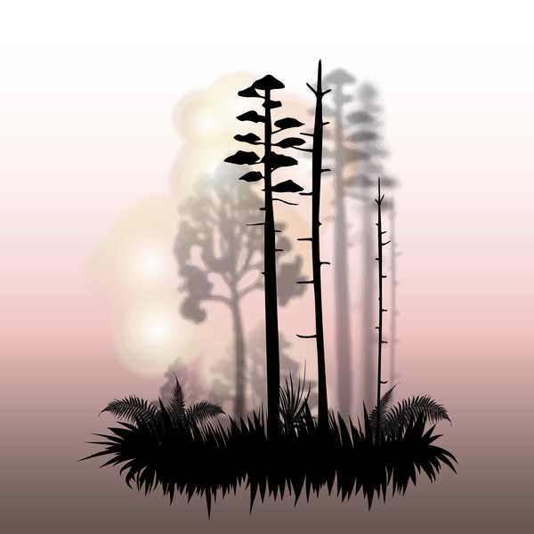 Tree silhouette with city landscape fashion vector 08