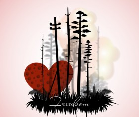 Tree silhouette with city landscape fashion vector 09
