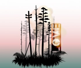 Tree silhouette with city landscape fashion vector 10