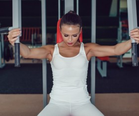 Use of fitness equipment exercise girl Stock Photo 02