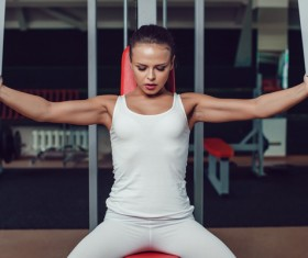 Use of fitness equipment exercise girl Stock Photo 03