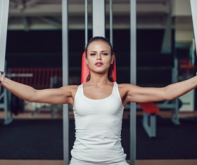 Use of fitness equipment exercise girl Stock Photo 04