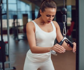 Use of fitness equipment exercise girl Stock Photo 07