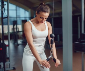 Use of fitness equipment exercise girl Stock Photo 09