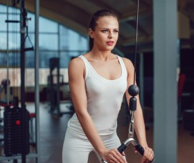 Use of fitness equipment exercise girl Stock Photo 10