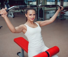Use of fitness equipment exercise girl Stock Photo 11