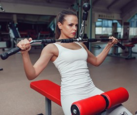 Use of fitness equipment exercise girl Stock Photo 12