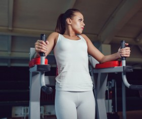Use of fitness equipment exercise girl Stock Photo 13