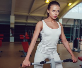 Use of fitness equipment exercise girl Stock Photo 14