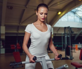 Use of fitness equipment exercise girl Stock Photo 15
