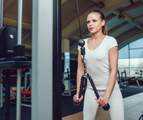 Use of fitness equipment exercise girl Stock Photo 16