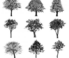 Various tree silhouette vectors set 01