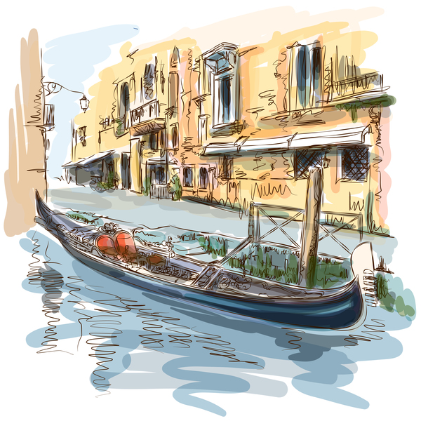 Venice Italy landscape hand drawing vector 01
