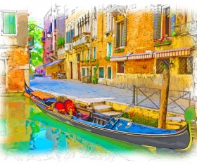 Venice Italy landscape hand drawing vector 04
