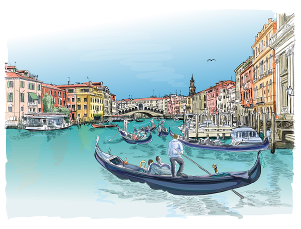 Venice Italy landscape hand drawing vector 05
