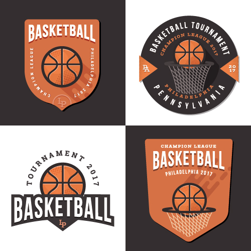Vintage basketball badge with labels vector