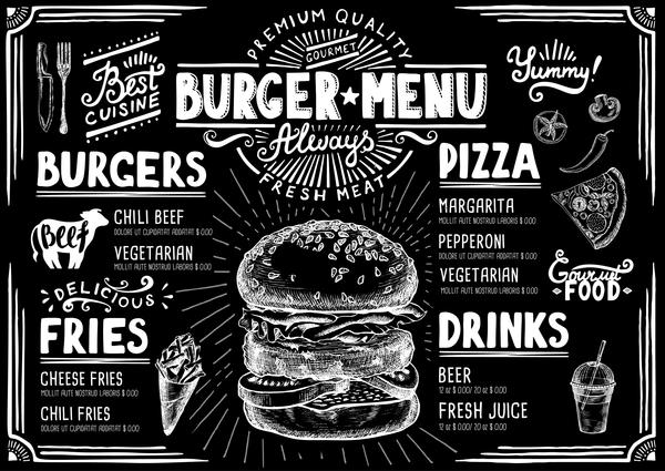 Vintage burger menu template vector material 03