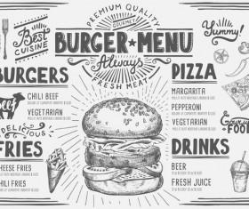 Vintage burger menu template vector material 04