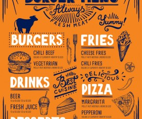 Vintage burger menu template vector material 05