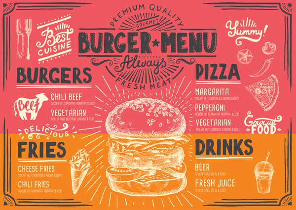 Vintage burger menu template vector material 06
